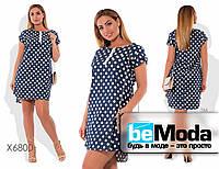 Эффектное женское джинсовое платье оригинального кроя с гороховым принтом темно-синее
