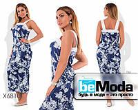Модное женское платье больших размеров из гофре коттона с цветочным принтом синее