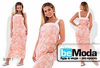 Модное женское платье больших размеров из гофре коттона с цветочным принтом персиковое