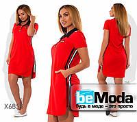 Спортивное женское платье с воротником поло и полосками по бокам красное