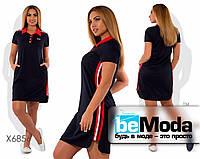 Спортивное женское платье с воротником поло и полосками по бокам черное