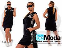 Удобное женское платье свободного кроя с капюшоном и декоративными пайетками черное
