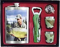 Набор рыбака: фляга + 2 стопки + лейка + открывашка.