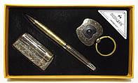 Подарочный набор MOONGRASS: ручка + брелок + зажигалка (старая бронза)