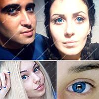 """Цветные косметические линзы """"Блу 1"""" на тёмных глазах"""