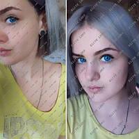 """Цветные косметические линзы """"Блу аква"""" на светлых глазах"""