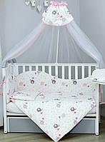 """Постельное белье в кроватку """"Elephant pink""""  тм Верес с балдахином, фото 1"""
