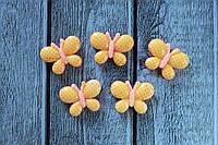 """Кабошон """"Бабочка розово-желтая"""" 2 х 2,2 см"""