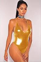 Золотистый слитный купальник CC7783