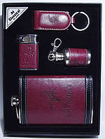 Набор: фляга + зажигалка + брелок + мини фляга в виде брелка
