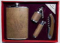 Набор: фляга + нож/штопор + зажигалка + мини фляга в виде брелка