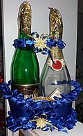 Корзина для свадебных бутылок (синяя)