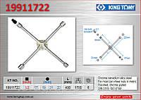 Ключ балонный крестовой 4 головки + квадрат, KING TONY 19911722.