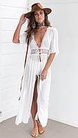 Пляжное платье длинное белое СС7787
