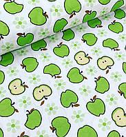 Хлопковая ткань польская яблоки зеленые на белом