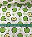 Хлопковая ткань польская яблоки зеленые на белом №600, фото 3