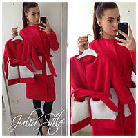 Пальто с меховыми карманами для мамы и дочки