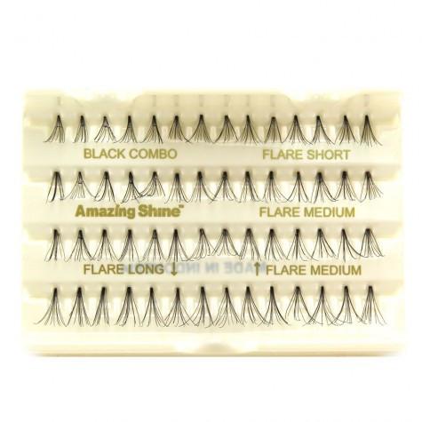 Комбинированный набор пучковый ресниц Amazing Shine Individual Flare Lashes #Combo Black
