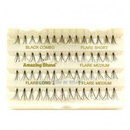 Комбинированный набор пучковый ресниц Amazing Shine Individual Flare Lashes #Combo Black, фото 2