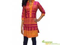 Пенджаби-туника, малиново-оранжевое с вышивкой, к.150, УТ-00001296, Аюрведа Здесь