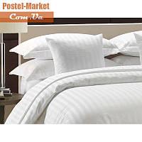 Белое постельное белье сатин страйп Viluta (Полуторный)