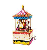 Robotime Музыкальная шкатулка деревянный конструктор «Веселая карусель»