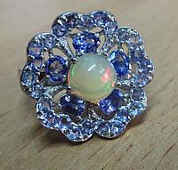 """Богатое кольцо  с танзанитами и опалом """"Барвинок"""" , размер 18.4  от студии LadyStyle.Biz, фото 1"""