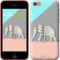 """Чехол на iPhone 5c Узорчатый слон """"2833c-23-4848"""""""