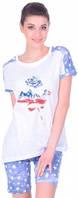 Комплект женский Miss First Usa футболка и шорты белый XL