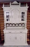 """Буфет дубовый  белый """"Генрих II"""", мебель из Европы, деревянная мебель для гостинной б/у"""