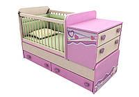"""Детская кроватка-трансформер """"Pink Pn-30"""" Дорис"""