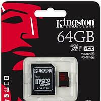 Карта памяти Kingston microSDXC 64GB Class 10 UHS-I U3 R90/W80MB/s + SD адаптер (SDCA3/64GB)