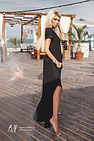 Черное платье-футболка oversized с разрезами по бокам L
