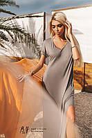 Серое платье-футболка oversized с разрезами по бокам