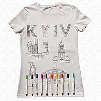 Футболка раскраска мужская белого цвета с принтом Киев с набором 10 разноцветных маркеров