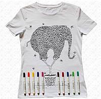 Футболка раскраска женская белого цвета с принтом Слон с набором 3 разноцветных маркера