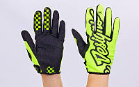 Кроссовые перчатки текстильные TLD  (закр.пальцы, р-р M-XL, салатовый-черный)
