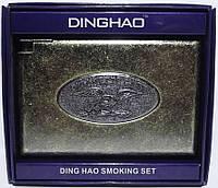 Портсигар металлический с зажимом (старая бронза)
