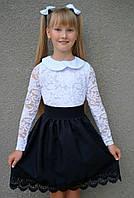Красивая школьная юбка с кружевом (т.синяя и черная)