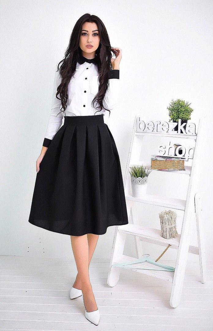 4e27bf7a236 Костюм женский белая рубашка с черным воротником и манжетами и пышная юбка  миди Ks527