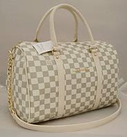 Женская сумка саквояж Louis Vuitton, бежевая в серую клетку Луи Виттон