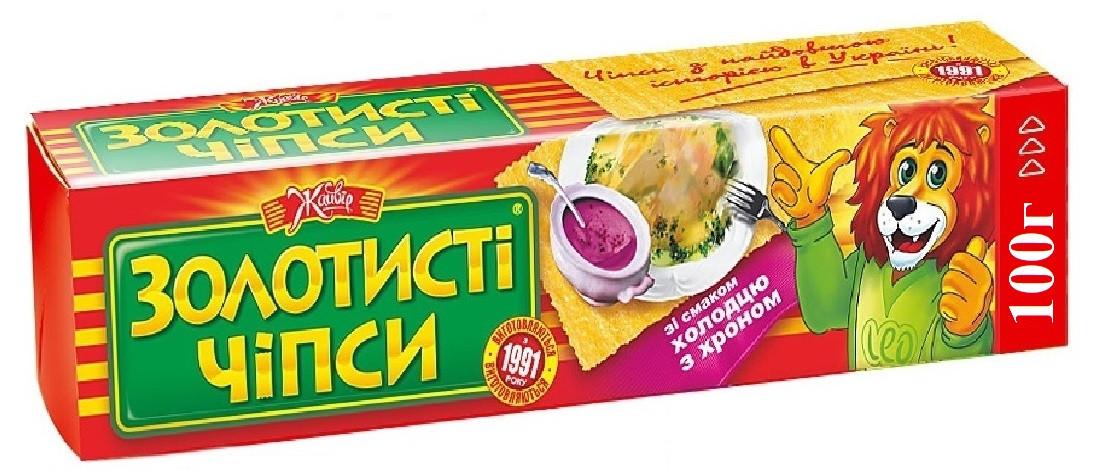 """чипсы """"Золотистые"""" """"Жайвир"""" 100 г. холодца и хрена"""