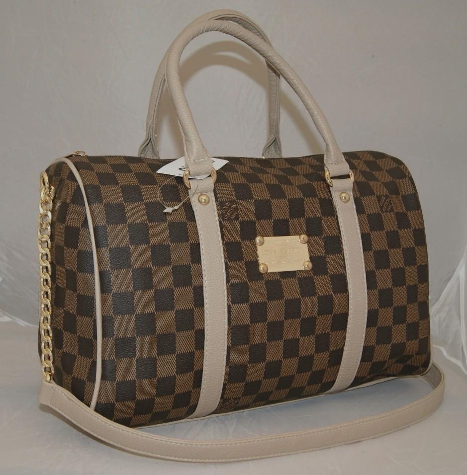 Женская сумка саквояж Louis Vuitton, коричневая в клетку Луи Виттон