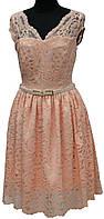 Платье вечернее кружевное персиковое, р. 36, 38, 40, Турция