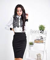 Костюм женский рубашка с кружевом и юбка карандаш Ks528