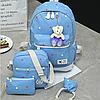 Рюкзак с сумочкой в цветочек 4 в 1, фото 4