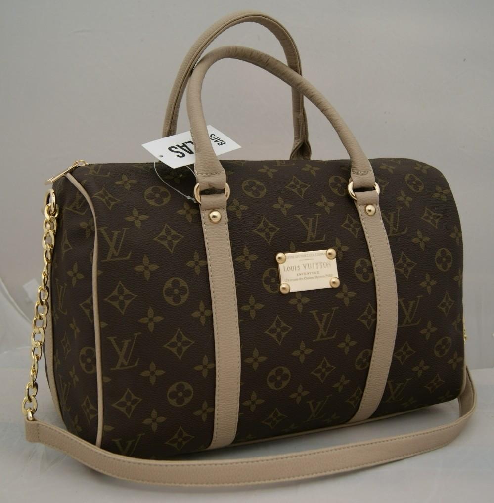 Женская сумка саквояж Louis Vuitton, коричневая с LV Луи Виттон