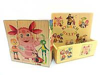 Деревянные кубики-пазлы в коробке