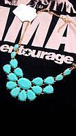 Стильное колье ожерелье женское бирюзовое