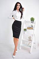 Костюм женский модный блузка с воротником-бант и юбка карандаш Ks529